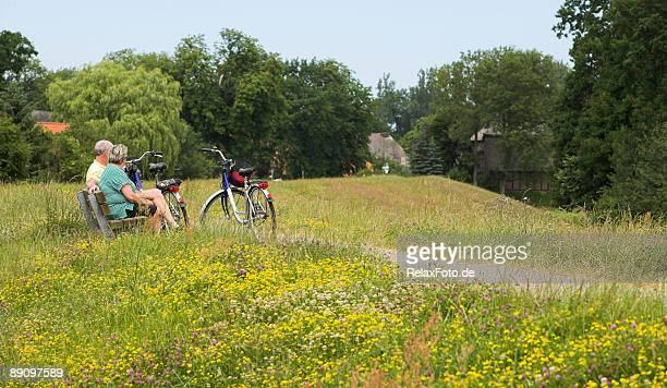 年配のカップルには、自転車で囲んだベンチでブルーミング草地 - ニーダーザクセン州 ストックフォトと画像