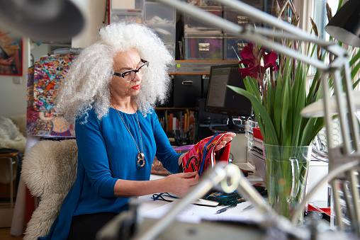 senior creative woman working from home - gettyimageskorea