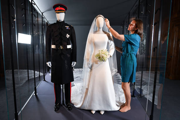 GBR: Wedding Outfits Of Meghan And Harry Displayed At Holyroodhouse