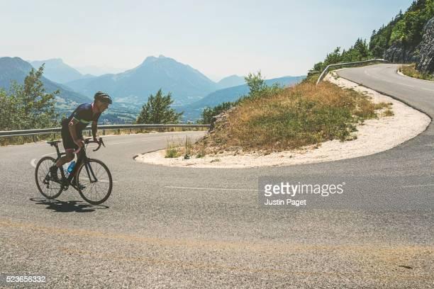 Senior Cyclist on Switchback on Le Semnoz, Annecy, France