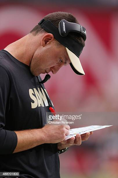 Senior Defensive Assistant Dennis Allen of the New Orleans Saints on the sidelines during the NFL game against the Arizona Cardinals at the...