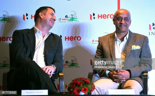 Senior Director for EurAsia Golf Charlie Tingey smiles while talking to Vice President Operations of DLF Golf Country Club Vishal Bharti during a...