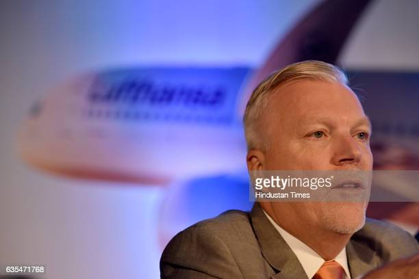 Senior Director for South Asia at Lufthansa Group Airlines Wolfgang Will addresses the media at a press conference where Lufthansa announces the...