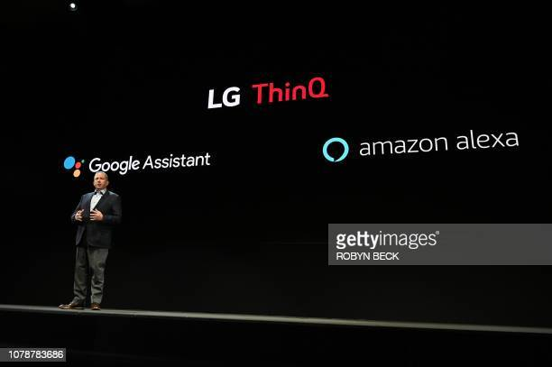 LG Senior Director of Home Entertainment Marketing Tim Alessi discusses integration with Google Assistant and Amazon Alexa at the LG press conference...