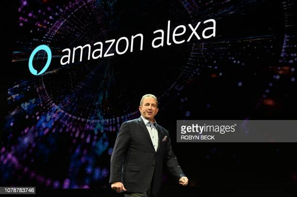 LG Senior Director of Home Entertainment Marketing Tim Alessi speaks about Amazon Alexa at the LG press conference at the Mandalay Bay Convention...