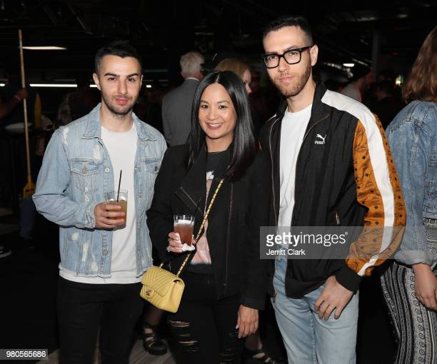 Senior Director of Marketing at Remy Martin ThuyAnh J Nguyen poses with RapUp founders Cameron Lazerine and Devin Lazerine at CAA's BET Awards Week...