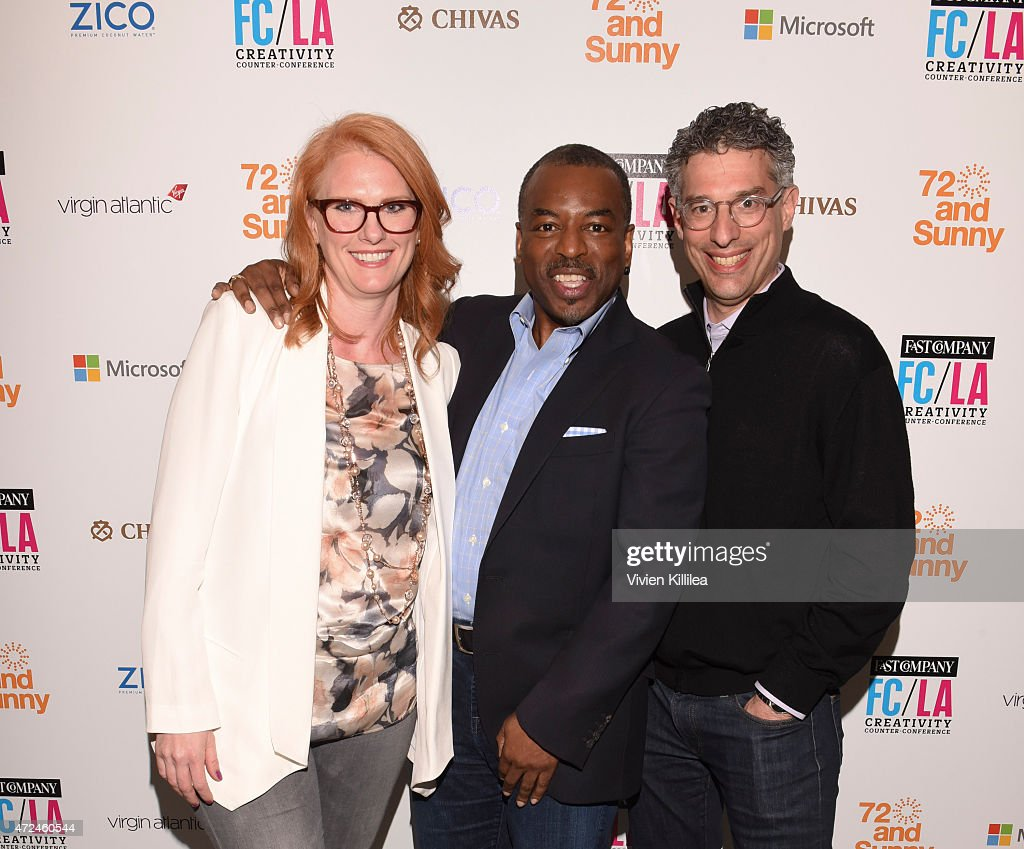 Senior editor at Fast Company Erin Schulte, actor and cofounder of Reading Rainbow LeVar Burton and editor and managing director at Fast Company Bob Safian attend Fast Company Hosts First-Ever LA Creativity Counter Conference at 72andSunny on May 7, 2015 in Los Angeles, California.