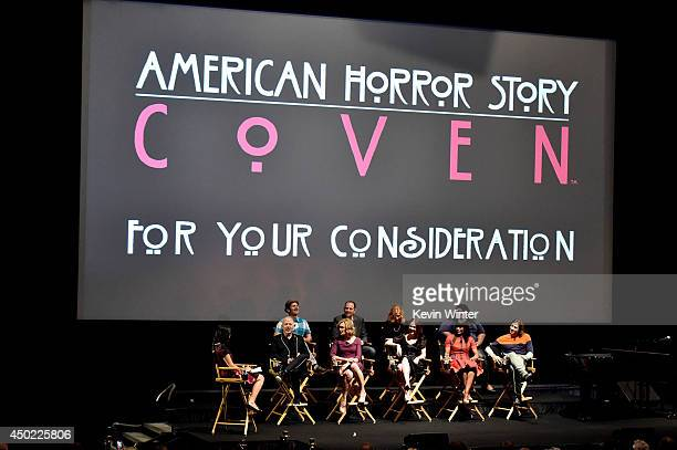 Senior Editor Denise Martin, co-creator/executive producer/writer Ryan Murphy, actors Jessica Lange, Sarah Paulson, Angela Bassett,...