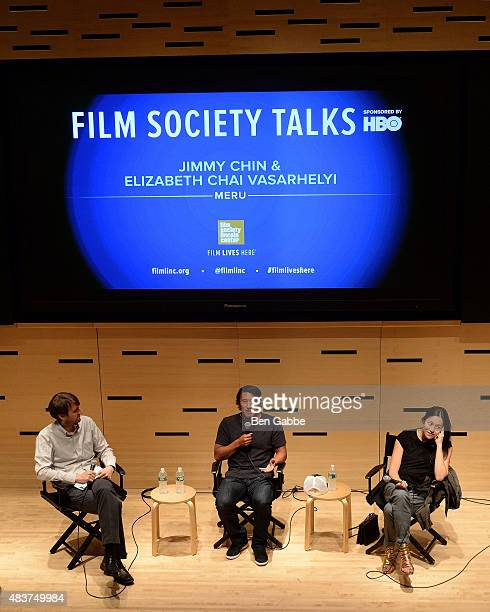 Senior editor of Film Comment magazine Nic Rapold, Director/climber Jimmy Chin and director Elizabeth Chai Vasarhelyi speak at the 2015 Film Society...