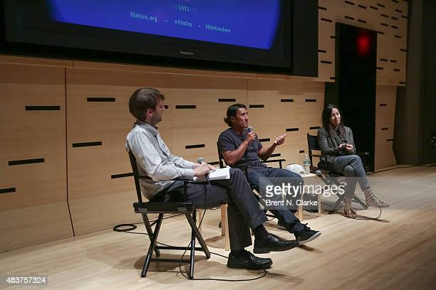 Senior editor of Film Comment magazine Nic Rapold mountaineer/director Jimmy Chin and codirector Elizabeth Chai Vasarhelyi speak on stage during the...