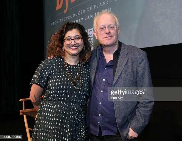 Senior Executive BBC Natural History Unit Mike Gunton talks with TV critic Sonia Saraiya during QA at the premiere of BBC America's 'Dynasties' at...