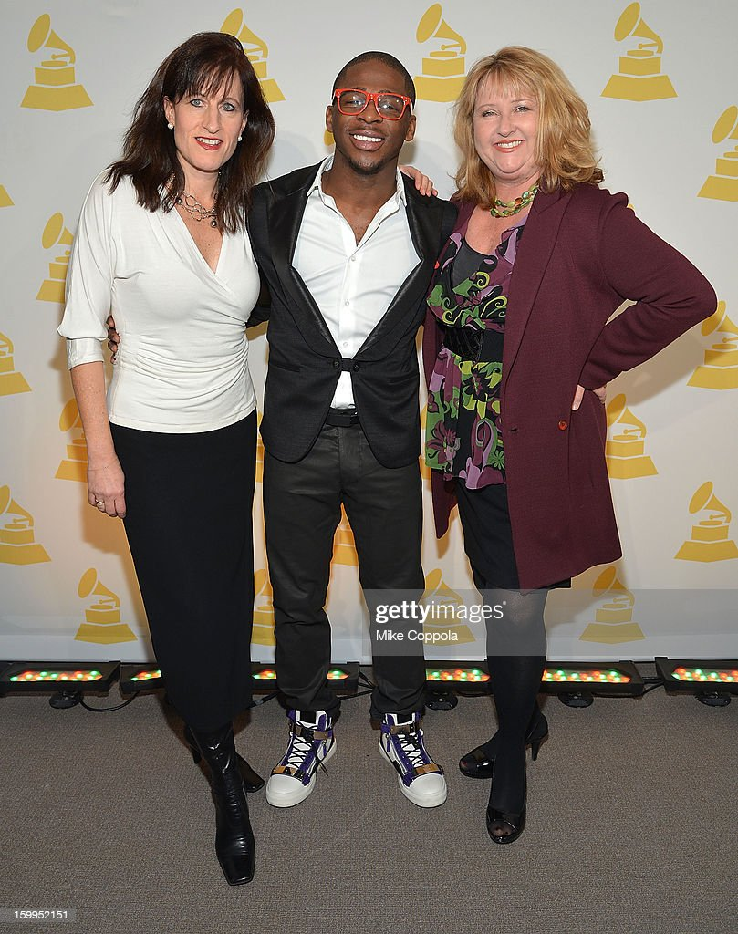 Senior Executive Director of The Recording Academy's New York chapter Elizabeth Healy, singer Marcus Canty, and President of The Recording Academy's New York chapter Linda Lorence Critelli attend GRAMMY Nominee Reception at The Recording Academy NY Chapter on January 23, 2013 in New York City.