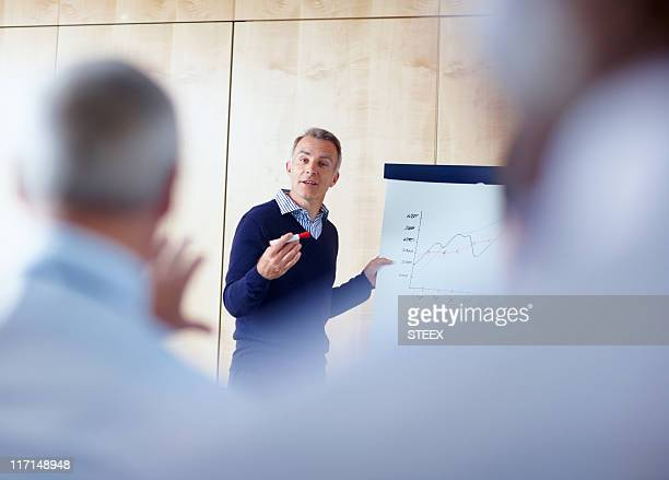 senior executive giving presentation - showing stock photos and pictures