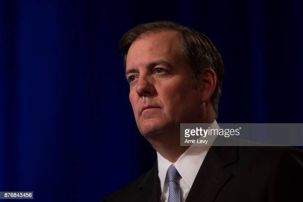 Senior Executive Vice President David R McAtee II speaks at a news conference in Time Warner headquarters addressing the latest developments in the...