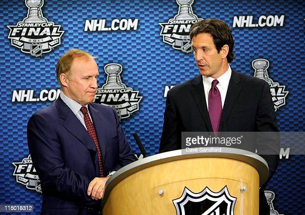 Senior Executive Vice President of Hockey Operations Colin Campbell stands with Senior Vice President Hockey Operations Brendan Shanahan as they...