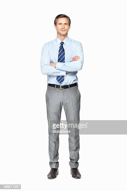 Senior executive with hands folded against white background