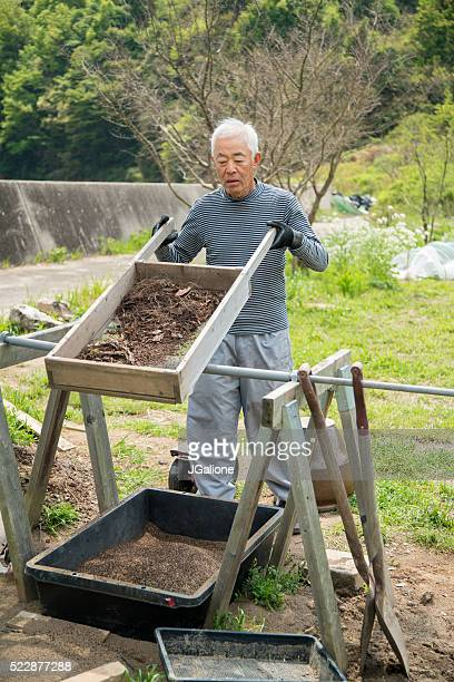 Senior farmer sifting soil