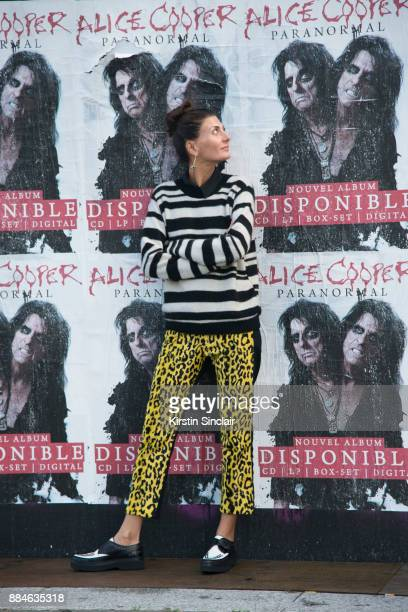 Senior Fashion Editor at Vogue Japan Giovanna Battaglia Engelbert wears Junya Watanabe trousers, The Elder Statesman sweater and Tods shoes day 5 of...