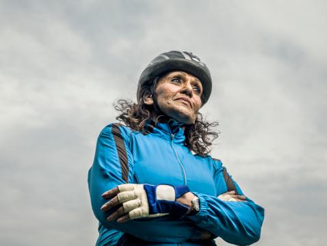 senior female cyclist outside - gettyimageskorea