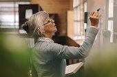 Senior female lecturer writing on board