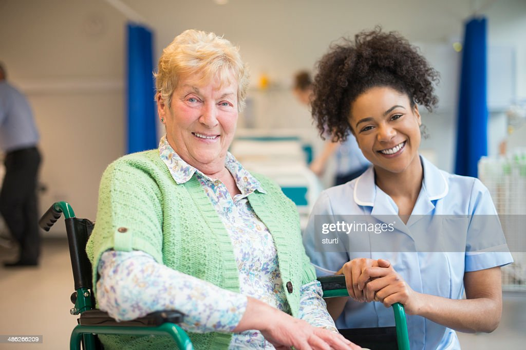 senior female patient in hospital : Stock Photo