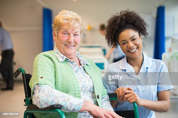 senior female patient in hospital - social services stock photos and pictures