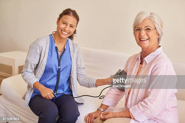 Senior female patient with nurse