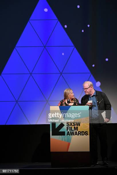 Senior Film Programmer Claudette Godfrey and actor and comedian Jim Gaffigan take part in the SXSW Film Awards show during the 2018 SXSW Conference...