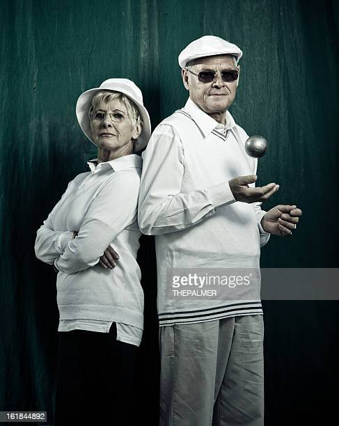 senior french couple of petanque players