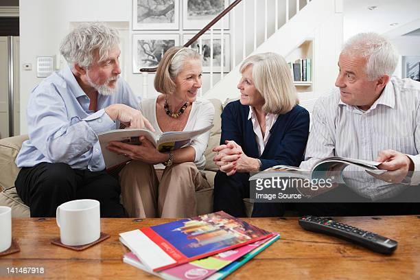 Senior friends planning holiday