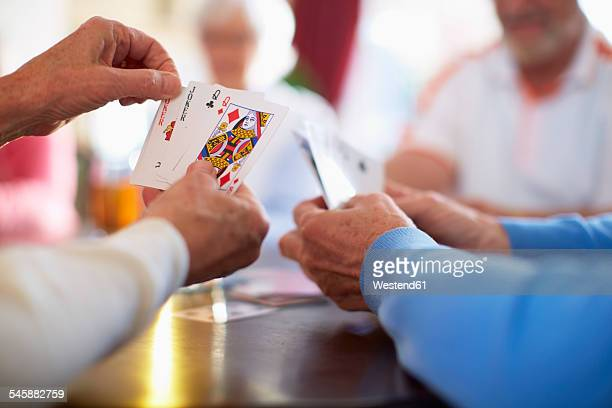 senior friends playing cards - playing cards stock photos and pictures