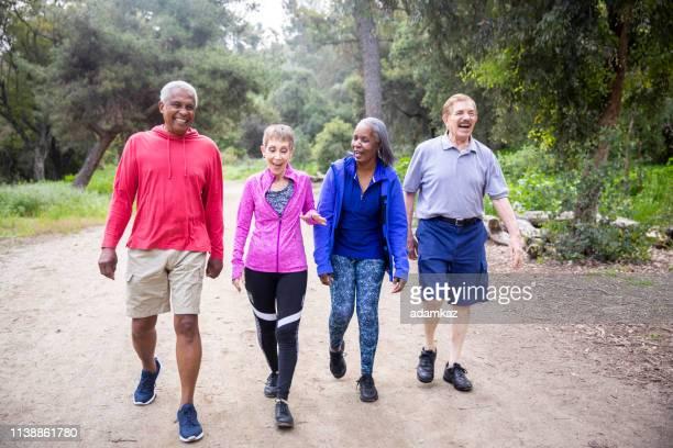 senior vrienden wandelen op forest trail - wandelen lichaamsbeweging stockfoto's en -beelden