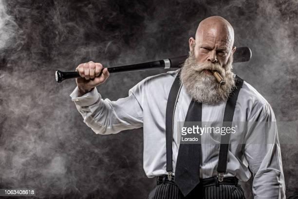 senior gangster mafia man - mafia foto e immagini stock