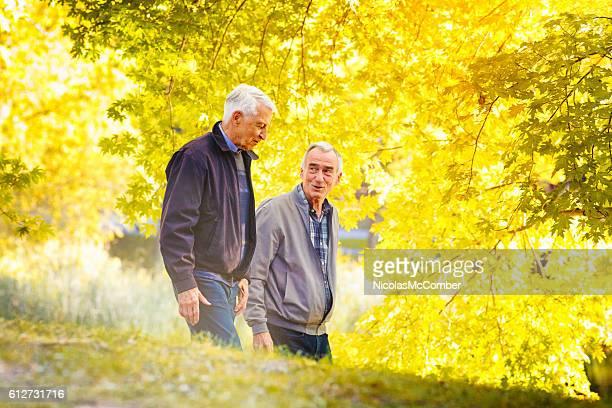 Senior gay couple enjoying a walk sunny Autumn day