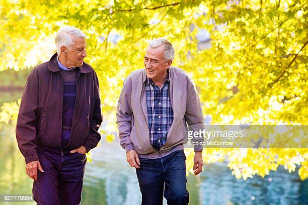 Senior gay male couple walking and laughing in park Autumn