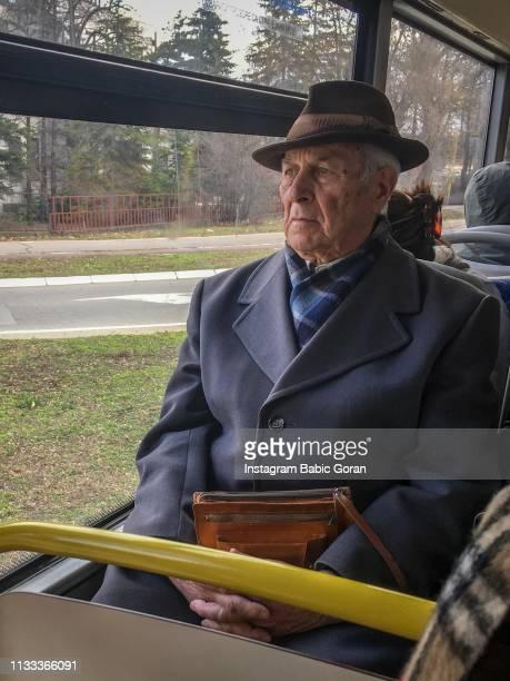 Senior gentleman in bus