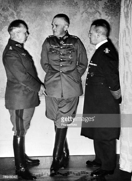 circa 1940 Senior German military personnel leftright General Werner von Fritsch General Werner von Blomberg and Admiral Erich Raeder