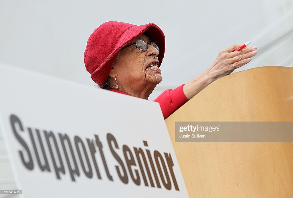 A senior gestures towards members of the San Jose city council as she speaks during a rally against budget cuts to senior programs at San Jose city hall May 17, 2010 in San Jose, California. Dozens of seniors attended a rally to oppose budget cuts to senior programs which include closing two popular senior centers that offer free meals.