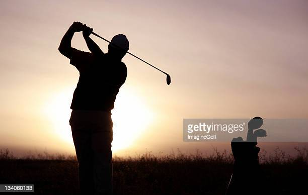 senior golfer silhouette - golfer stock pictures, royalty-free photos & images