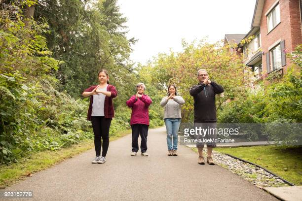 Senior Grandmother and Multi-Generation Family Practicing Tai Chi Together, Outside