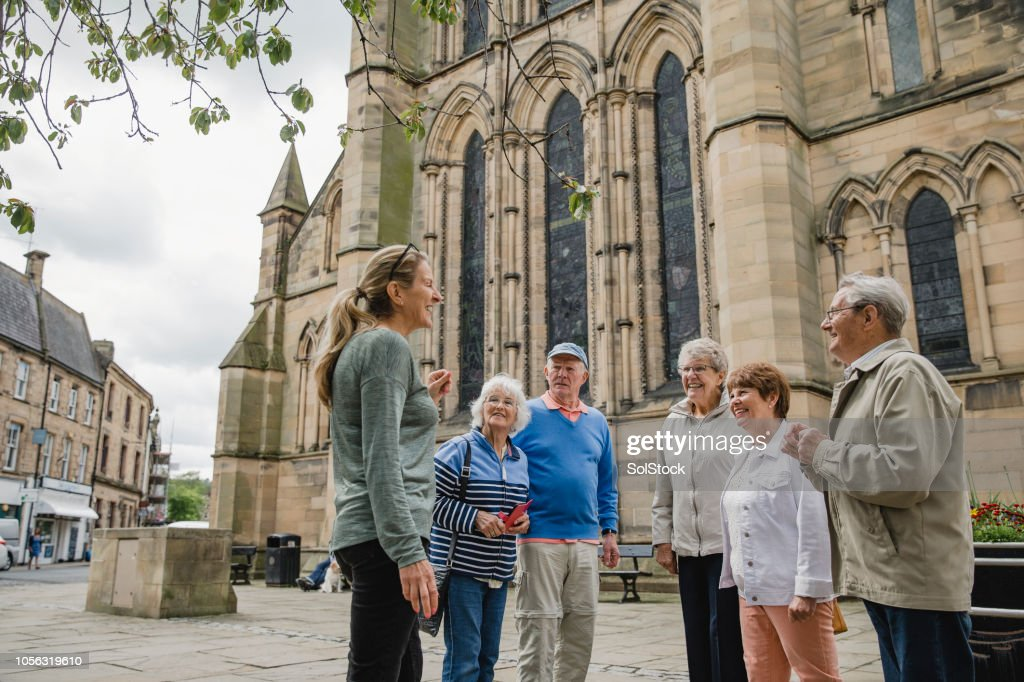 Senior Group Doing a Tour in Hexham : Stock Photo