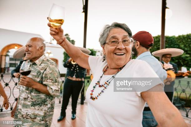 senior group reunion celebration in mexico - cinco de mayo stock pictures, royalty-free photos & images