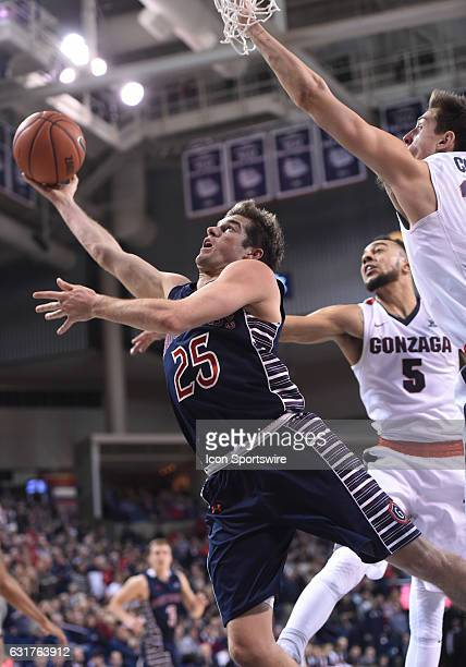 SMC senior guard Joe Rahon misses on this shot attempt during the game between the Saint Mary's Gaels and the Gonzaga Bulldogs on January 14 2017 at...