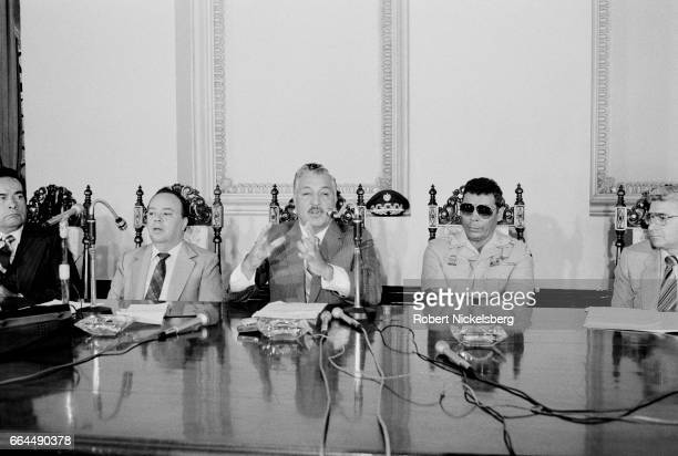 Senior Guatemalan government officials address a press conference March 9 1982 to denounce claims of fraud during the March 7th presidential election...