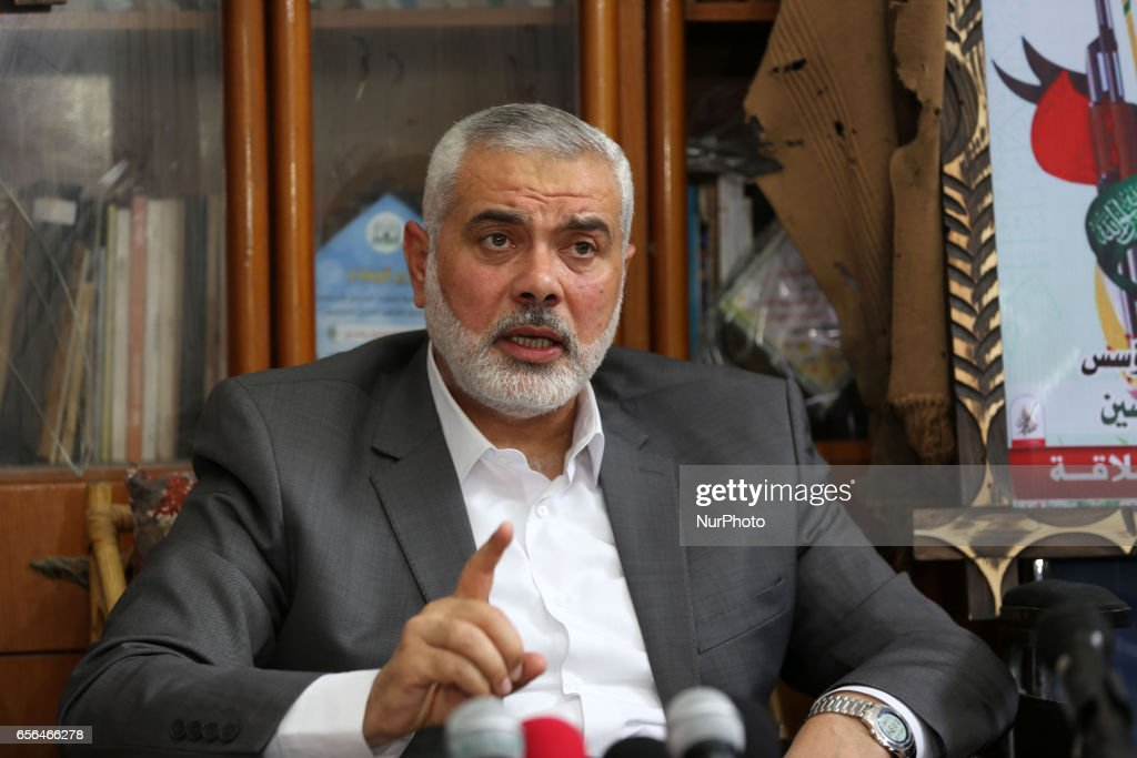 Senior political Hamas leader Ismail Haniya visits the family of Sheikh Ahmed Yassin
