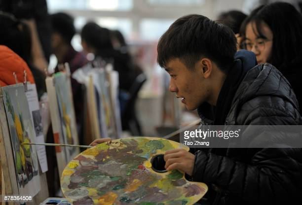 Senior high school student painting to major in art prepare for the upcoming college entrance exam at a training institute in Harbin China's...