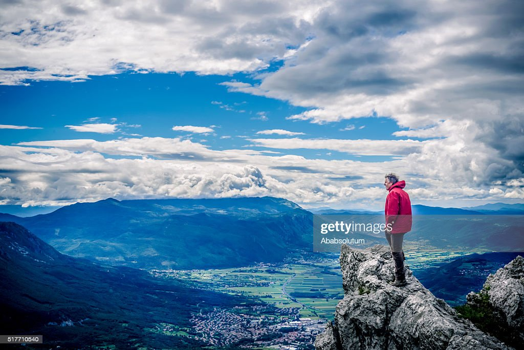Senior Hiker in Julian Alps, Slovenia, Europe, Europe : Stock Photo