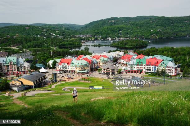 senior hiker in mont tremblant, quebec, canada - mont tremblant stock pictures, royalty-free photos & images