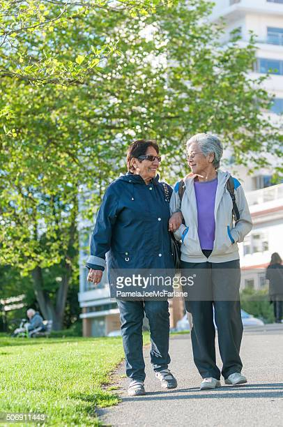Senior Indian and Chinese Women Friends Walking in Park