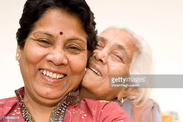 Senior Indian Asian Mother and Daughter having fun
